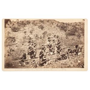 General George Crook's Armed Apache Scouts at San Carlos, Boudoir Card by J.C. Burge