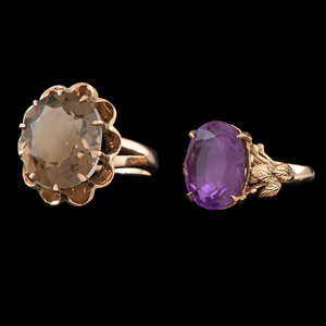 14k Gold Gemstone Rings, Lot of Two