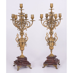 A Pair of French Marble and Brass Candelabra