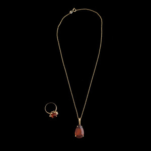 18k Gold Citrine Necklace and Ring