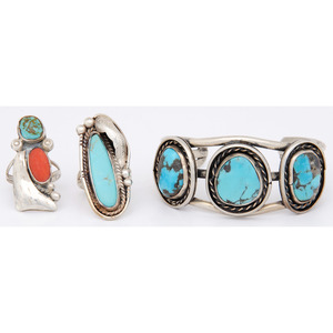 Southwestern Style Cuff Bracelet AND Two Rings