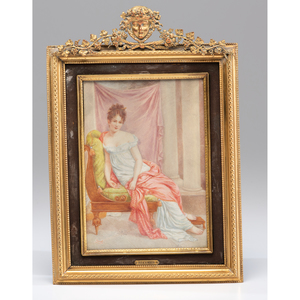 A Miniature Portrait on Ivory of Madame Recamier