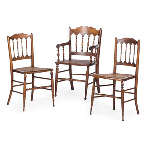 Three Early Victorian Cane Upholstered Chairs