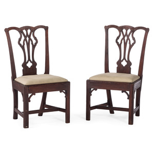 A Pair of Philadelphia Chippendale Walnut Side Chairs