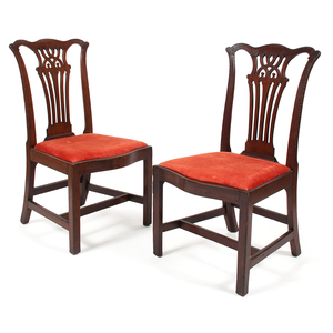 Pair of English Chippendale Side Chairs in Mahogany
