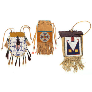 Collection of Northern Plains Beaded Hide Pouches