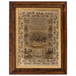 An English Silk and Linen Embroidered Needlework Sampler