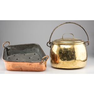 A Copper Fish Poacher and Brass Cooking Pot