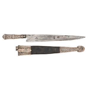 Late 18th Early 19th Century Sliver Hilt Knife and Scabbard