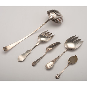 English Sterling Shell Ladle and Other Silver Flatware