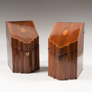 Pair of Georgian Inlaid Mahogany Knife Boxes