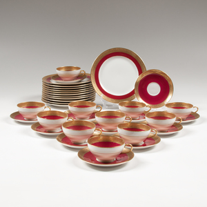 Charles Ahrenfeldt Limoges Maroon and Gilt Porcelain Service