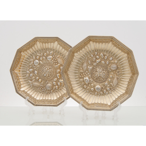 Pair Late Georgian Gold Wash Sterling Repoussé Dishes