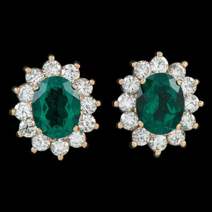 14k Gold Synthetic Emerald and Diamond Earclips