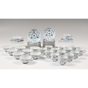 Royal Copenhagen Partial Tea Service, Blue Fluted Plain