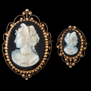 18k Gold Victorian Cameo Brooches, Lot of Two