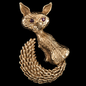14k Gold Fox Brooch