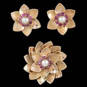14k Gold Cultured Pearl and Pink Sapphire Earclips and Brooch