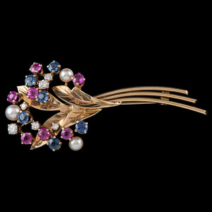 14k Gold Cultured Pearl, Sapphire, and Diamond Brooch