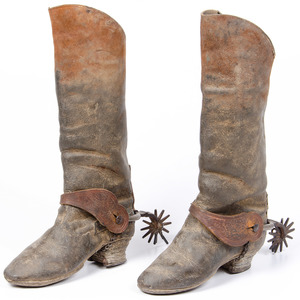 1870 Mexican Boots with Silver inlay Spurs