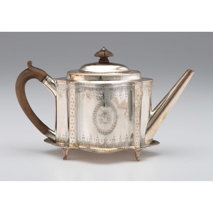 Georgian Bateman Sterling Armorial Teapot on Stand