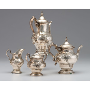 Gorham Sterling Floral Repoussé Tea and Coffee Service