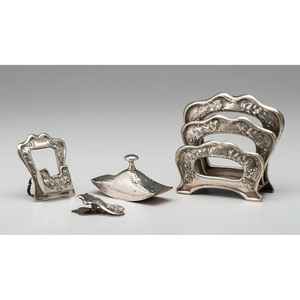 Gorham Art Nouveau Sterling-Mounted Desk Set