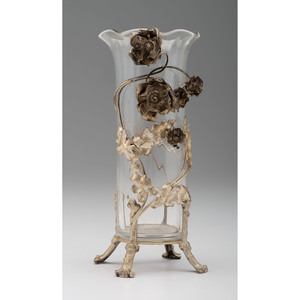 Sterling-Mounted Glass Vase for Theodore Starr