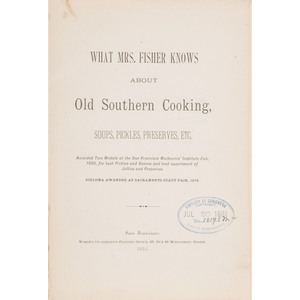 Rare What Mrs. Fisher Knows About Old Southern Cooking, Second Cookbook Published by African American