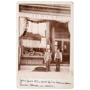 Cabinet Card of Denver, Colorado Tobacco Storefront with Blind Tom Advertisements
