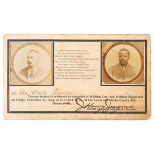 Scarce Illustrated Invitation to an 1895 Montana Hanging