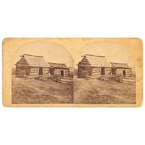Stereoview of Freedman's Cabin, Muskogee, Indian Territory, 1881