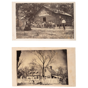 J.D. Heywood CDVs of Freedmen's School and Office and Quarters of Capt. H. James, ca 1868