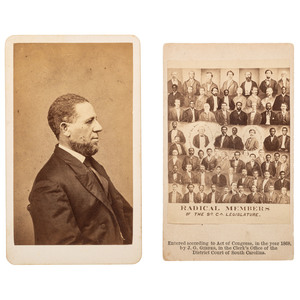 Mathew Brady CDV, Hiram Revels, ca 1865 with CDV, Radical Members of the So. Ca. Legislature, 1868