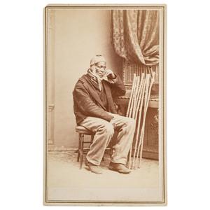 Gardner CDV of African American Cane Carver, ca 1860
