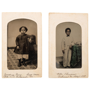 CDV Tintypes of Identified African American Children from Richmond, Virginia, Willie Thompson and Josephine Poins, 1868-1869