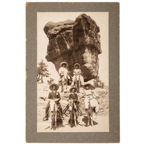 Rare Photo of African American Tourists at Balanced Rock Near Manitou, Colorado, ca 1900