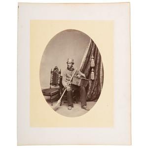 Yale Janitor Albumen Print on Album Page, Yale University, ca 1868