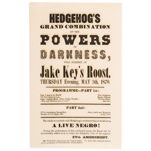 Hedgehog's Grand Combination Anti-Black and Anti-15th Amendment Letterpress Broadside, 1870