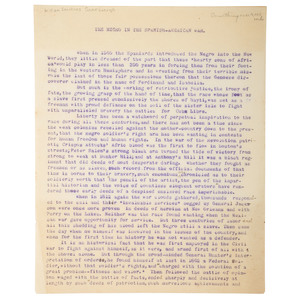 William Sanders Scarborough Unpublished Typescript on African Americans in the Spanish American War, Wilberforce University, 1898