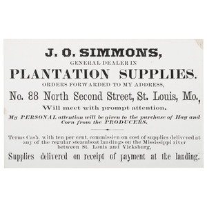 J.O. Simmons, Plantation Supplies Trade Card, ca 1850-1870