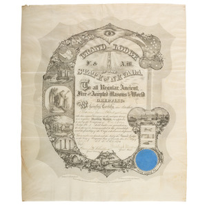Grafton Tyler Brown Nevada Printed Masonic Appointment, 1871