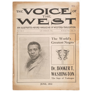 Only Known Copy The Voice of the West: An Illustrated Negro Magazine of Western Civilization, Vol. I, No. 3, June 1912 with Theodore Roosevelt Presidential Endorsement