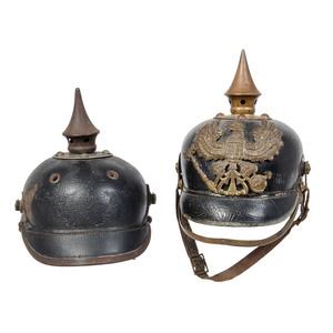 Lot of Two Imperial German Pickelhaube Helmets