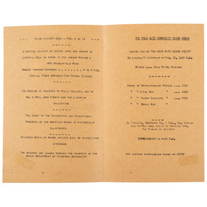 Only Known Copy Negro History Week Program, Palo Alto, California, ca 1942