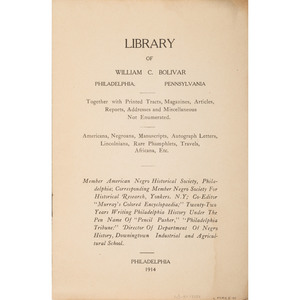 Rare Signed and Inscribed Library of Willam C. Bolivar, African American Rare Book Collector