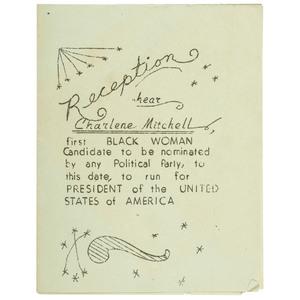 Charlene Mitchell, First Black Woman Presidential Candidate, Reception Invitation, 1968