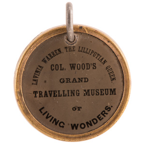 Colonel Wood's Grand Traveling Museum Tintype Fob Featuring Lavinia Warren,
