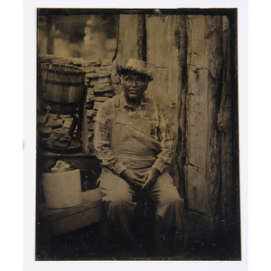 Tintype of a Mixed Race Subject Wearing a Straw Hat