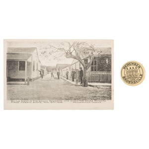 Brownsville Incident Pinback and Printed Postcard, ca 1906